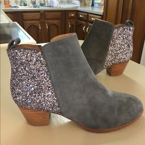 Anthropologie silver sparkle gray suede heels 7